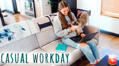 CASUAL WORKDAY VLOG 🖥️ Freelance editor day in the life   Natalia Leigh